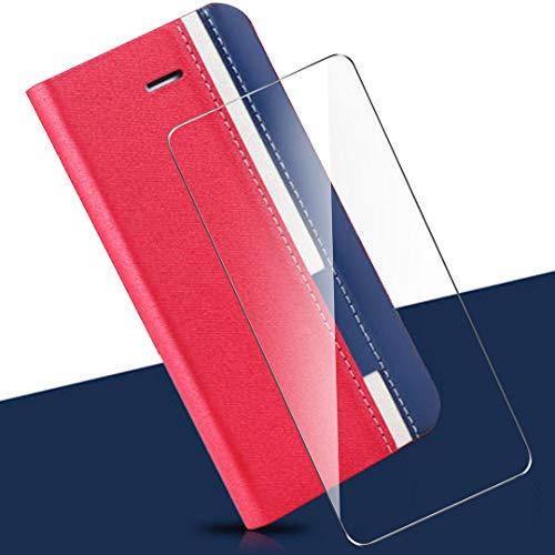 HYMY Denim Hülle für Oppo Find X2 Neo + Schutzfolie Panzerglas Folie - Lederhülle Flip Schutzhülle Card Slot mit Brieftasche Handyhülle Bookstyle Flip Cover Hülle - REd