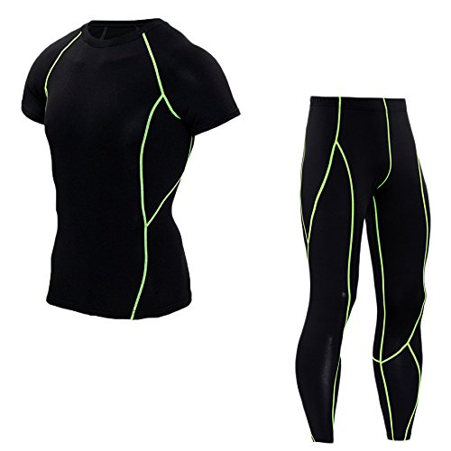 La Course de remise en forme en plein air Collants de Sport de Fitness Costume Hommes Manches Courtes, Plus Pantalon de transpiration Respirant Vêtements de Compression - Vert - M