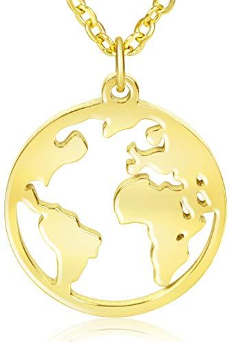 Ansané | Neu – Weltkugel Kette – in Silber, Rose, Gold | 45cm + 5cm (extra) | hochwertige Schmuckschachtel