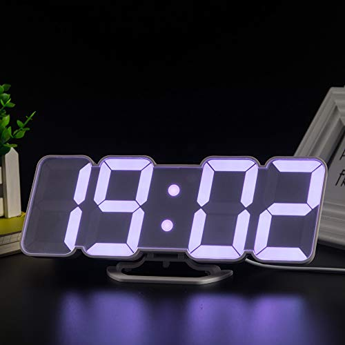 Bedler 3D Wireless Remote Digital RGB LED Alarm Clock USB Powered Time/Temperature/Date Display 115-Color Changing 3-Level Brightness Sound Control Wall Desktop Clock-White USB Alarm Clock