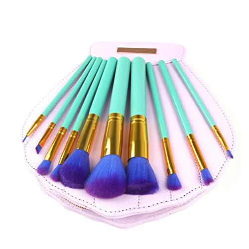 Pro 10pcs Maquillage Cosmétique Blush Brush Base Sourcils Poudre Pinceaux Kit Set avec Sac Shell