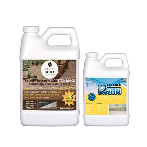 Resist Mist-Composite Deck, Fence, Concrete Cleaner & Sealer-No More Ugly Black Spot, Dirt & Grease Stains. Keeps Surfaces Looking Just Cleaned & Stain Free for Years. Be The Hero of Clean