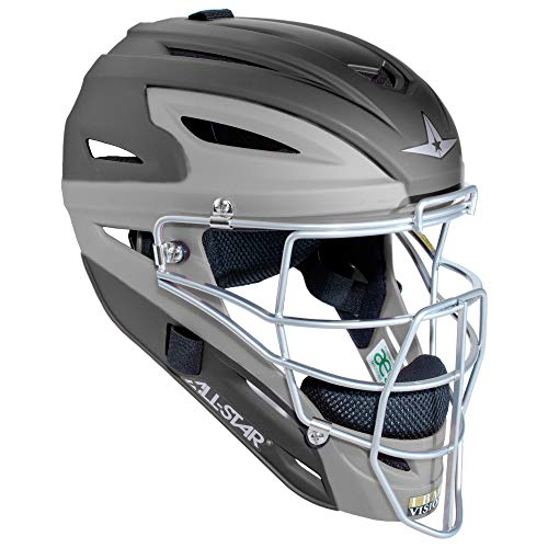 All-Star Mvp2500 Two Tone Matte Catchers Helmet Black/Grey