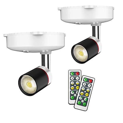 Wandstrahler, wandstrahler innen, led lampe batteriebetrieben, led leuchte mit batterie, 4 Dimmstufen Timer 4000K Warmweiß 2Pack (Schwarz)