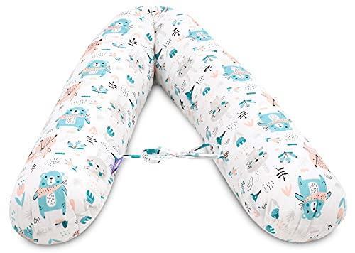 Jukki® Cojín de lactancia, almohada para dormir de lado, cojín de embarazo, tamaño XXL, cojín de 170 cm para madre y bebé, cojín de almacenamiento, con funda de algodón 100 %