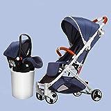 YXCKG Cochecitos de Viaje 3 en 1 con Asiento Infantil Silla de Paseo Plegable Ligera de hasta 25 kg con posición acostada, Cesta para Dormir del Cochecito para bebés recién Nacidos antichoque Springs