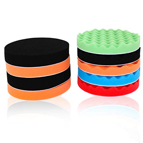 11Pcs Polishing Pads, 7'' 180mm Waxing Buffing Polishing Sponge Pads Kits for Drill Adapter, Auto Polisher Buffer Set for Car Sanding, Polishing, Waxing, Sealing Glaze