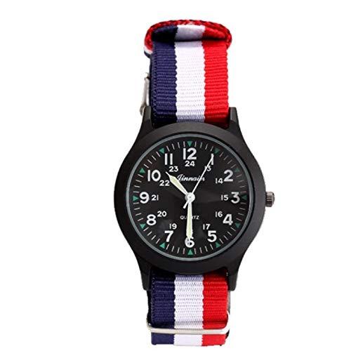 SFBBBO Reloj niño Relojes de Moda para niños, Relojes de Cuarzo para Estudiantes y niños, Reloj de Pulsera Informal para Hombres y Mujeres, Banda de Lona, Color Negro