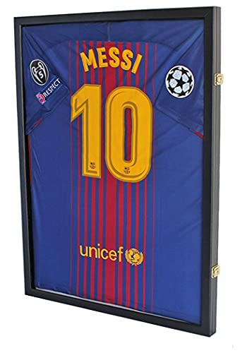 DisplayGifts Jersey Display Frame Case Large Frames Shadow Box Lockable with UV Protection for Baseball Basketball Football Soccer Hockey Sport Shirt Black Finish