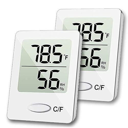 Mini Termómetro Higrómetro Digital, Medidor de temperatura y humedad, Termómetro de interior y exterior (2 BLANCO)