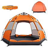 Pop Up Tent Instant Family Camping Tent Portable Automatic Easy Setup Waterproof Windproof Tent for Camping Hiking Outdoor Beach (Orange, Large)
