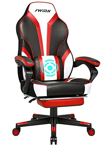 IntimaTe WM Heart Sedia da gaming Sedia da ufficio ergonomica Sedia gaming con cuscino vibrante Sedia da ufficio con poggiapiedi Sedia girevole Sedia corsa schienale alto cbraccioli regolabili,rosso
