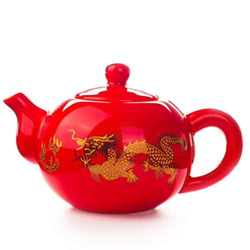 FUYIO 1 unid Tetera de cerámica Negra roja roja Tetera de dragón Chino Tetera Hecha a Mano Tetera fácil Tetera Juego de té de cerámica Tetera Kung Fu Teaware, 02
