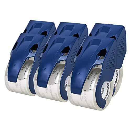Amazon Basics - Nastro per imballaggio con dispenser, resistente, 4,5 x 20,2 cm, per spedizioni, traslochi e magazzini, confezione da 6