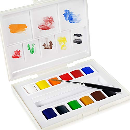 Sennelier La Petite Aquarelle Watercolor Paint Set - 12 Half Pan Plastic Tray With Elastic Hand Strap - Student Grade Watercolor Paint Set - [12 Half Pans]