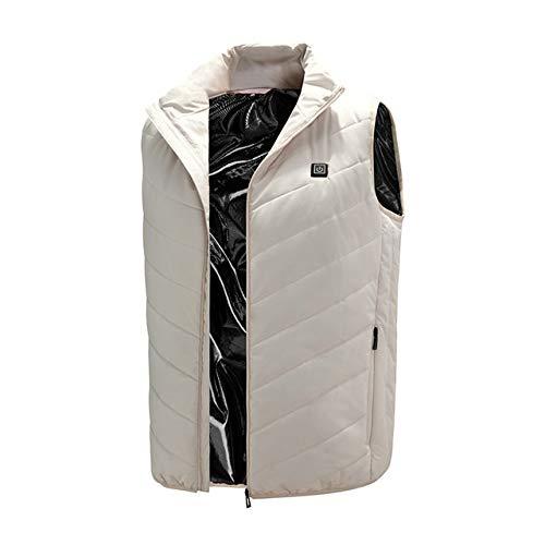 HTDHS Chaleco eléctrico con calefacción, lavable y con temperatura ajustable, para mujeres, hombres, pesca, esquí (color blanco, tamaño: pequeño)