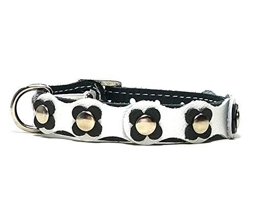 Superpipapo Original Collier pour Chat en Cuir avec Boucle Anti Étranglement de Sécurité Élastique, Design Hippie avec Fleurs en Cuir Noir et Blanc