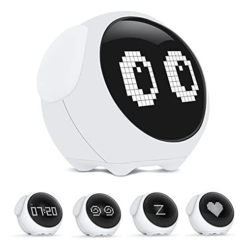 Komake Despertador Infantil Digital,Wake up Light,Lámpara de Noche,Despertador Recargable,Lámpara Decorativa,Despertador con Función Snooze Funciones para Niños,USB Despertador luz Niños Adulto