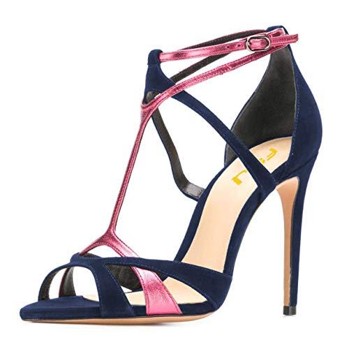FSJ Women Strappy Pointed Peep Toe Stiletto High Heels T Strap Summer Dress Sandals Shoes Size 7 Navy Blue