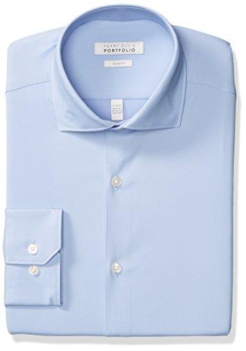 Perry Ellis Men's Slim Fit Spread Collar Performance Dress Shirt, Light Blue Solid, 16.5 34/35