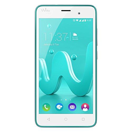 Wiko Jerry Smartphone (12,7 cm (5 Zoll) Bildschirm, 16 GB interner Speicher & 1 GB RAM, Android 6 Marshmallow) türkis-silber
