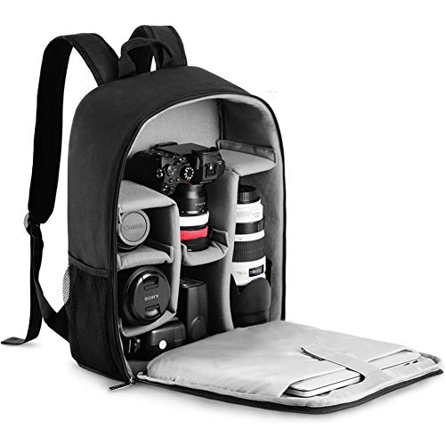 CADeN Camera Backpack Bag with Laptop Compartment 15.6' for DSLR/SLR Mirrorless Camera Waterproof, Camera Case Compatible for Sony Canon Nikon Camera and Lens Tripod Accessories Black
