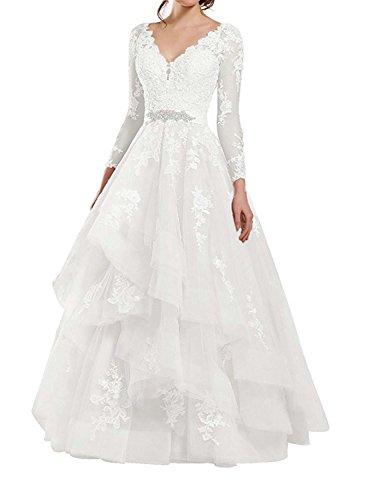 JAEDEN Lange Hochzeitskleider Brautkleid Prinzessin Ballkleider Tüll Spitze Abendkleider V-Ausschnitt Langarm Weiß EUR32