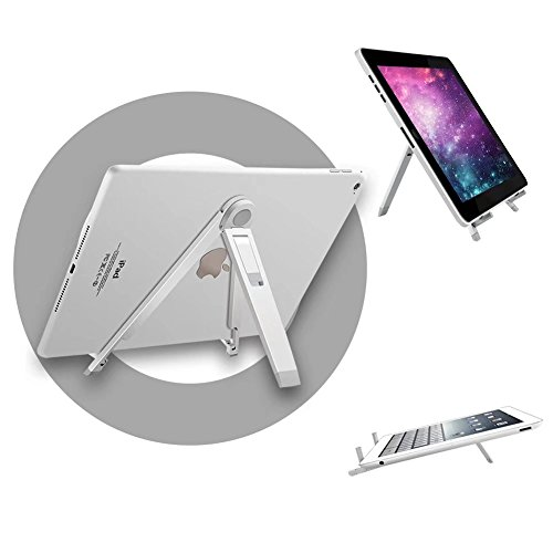 VMAE Tablet Stand, Portable Multi-Angle Aluminum Holder Fit for 7-10 inches iPad, Amazon Fire HD 8, Kindle, Lenovo Tab 7, Samsung Galaxy Tab Mount for Office Reception Kitchen Countertop - Silver