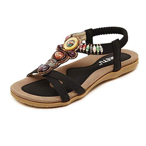 VJGOAL Damen Sandalen, Frauen Mädchen böhmischen Mode Flache beiläufige Sandalen Strand Sommer Flache Schuhe Frau Geschenk (39 EU, U-schwarz)