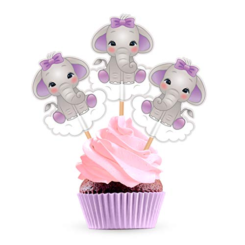Purple Elephant Cupcake Cake Toppers - Lavender Lilac Baby Shower Birthday Party Decorations Supplies - 25 Pieces