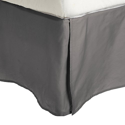 Luxor Treasures Superior - Falda de Cama con Esquinas Plisadas 96 x 203 x 38 cm, 100% Microfibra Afelpada, Resistente a Las Arrugas, Color Plateado