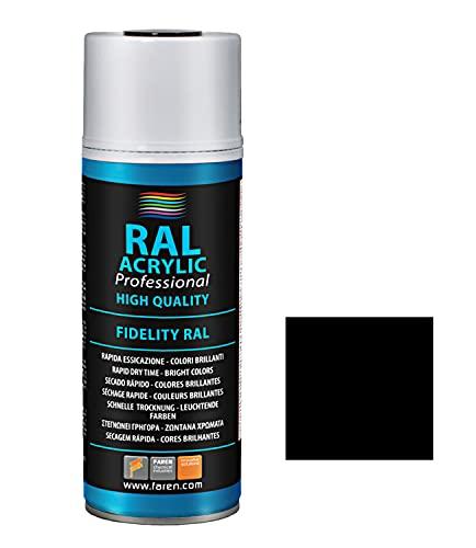 Faren 5VN400 Bote Spray 400ML DE Pintura ACRILICA AL 100% RAL 9005 Negro Satinado, 400 ml (Paquete de 1)