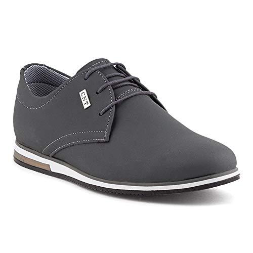 Fusskleidung Herren Business Schnürer Casual Halb Sneaker Schuhe Anzugschuhe Grau EU 40