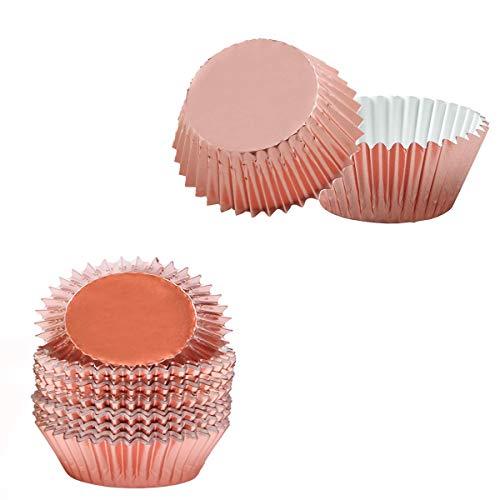100 Stück Cupcake-Förmchen aus Folie, zum Backen von Kuchen, Papierförmchen (Roségold).