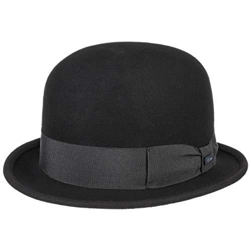 Lipodo Bombín de Fieltro Lana Mujer/Hombre - Made in Italy Bowler Sombrero con Banda Grosgrain Verano/Invierno - S (54-55 cm) Negro