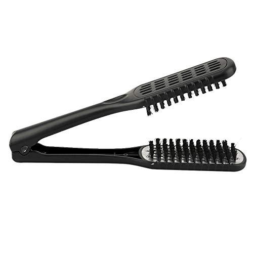 Défrisage peigne double face peigne coiffure Brosse à cheveux Pince naturelle Hairstylig outil Matériel fiable (Color : Black)
