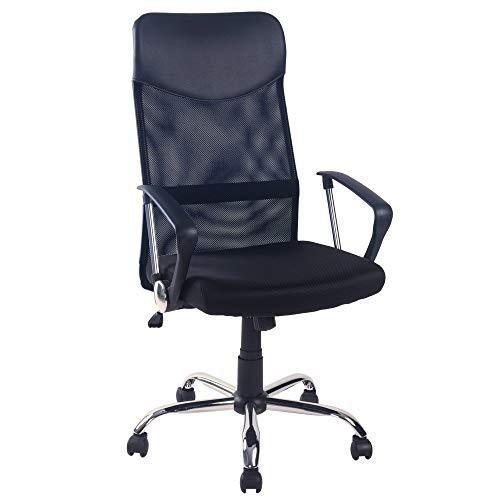 æ— Silla de oficina con respaldo alto, respaldo de malla ajustable, silla giratoria con reposabrazos para oficina en casa, color negro