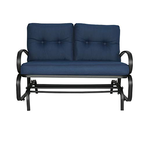 Patio Glider Bench Loveseat Outdoor Cushioed 2 Person Rocking Seating Patio Swing Chair, Navy