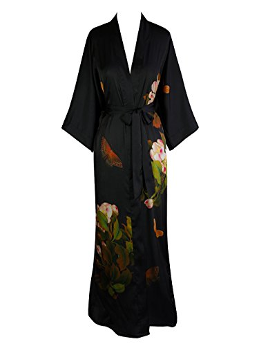 Women's Charmeuse Kimono Robe Long - Watercolor Floral - Peony & Butterfly- Black
