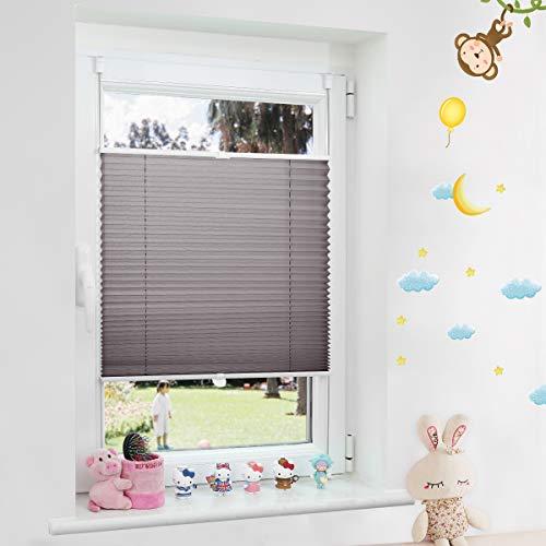 Grandekor Plissee ohne Bohren Plisseerollo klemmfix Jalousien Sonnenschutz 70x130cm (BxH) Anthrazit, Fenster Rollo lichtdurchlässig Kinderzimmer Wohnzimmer für Fenster & Tür