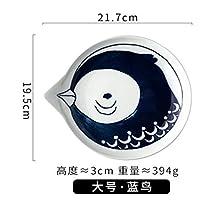 Mei-YY プレート/皿 8インチ和室の漫画セラミックディッシュホームかわいい猫のスナックプレート手描きプレートサラダプレート大青い鳥21.7X19.5Cm 食器
