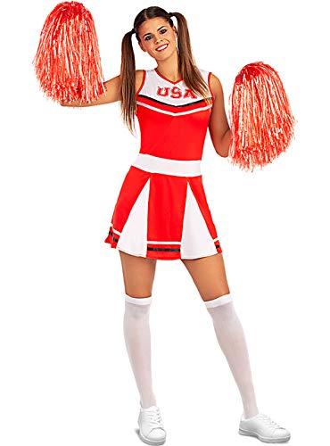 Funidelia | Disfraz de Animadora para Mujer Talla L ▶ Cheerleader, Fútbol Americano, Instituto, Profesiones - Rojo