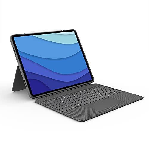 Logitech Combo Touch iPad Pro 12,9 (5. Gen - 2021) Keyboard Case - Abnehmbare Tastatur mit Hintergrundbeleuchtung - Click-Anywhere Trackpad, Smart Connector - Deutsches QWERTZ-Layout - Grau