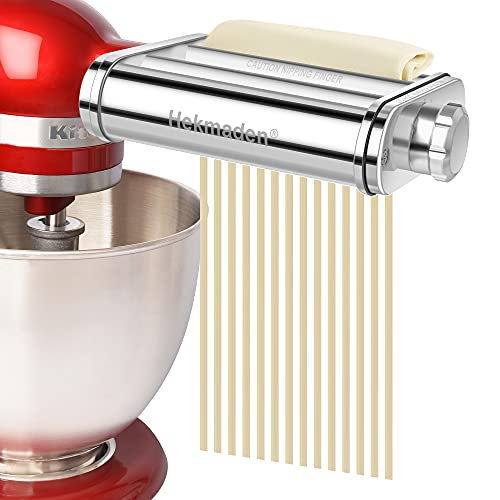 Hekmaden Pasta Maker Attachment for KitchenAid Stand Mixers 3 in 1,Stainless Steel,Pasta Roller and Cutter for Spaghetti, Fettuccine, or Dumpling Wrappers