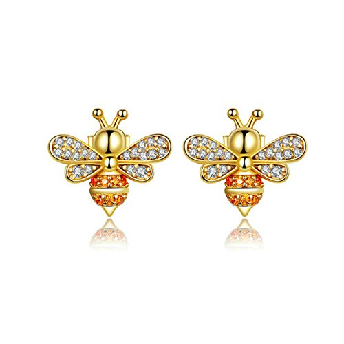 QY-Youth 100% 925 Sterling Silver Bee CZ Exquisite Stud Earrings for Women Fashion Silver Jewelry,Gold