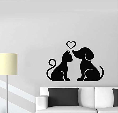 Calcomanía de pared de gato y perro, hogar de mascotas, animales, amor, corazón, vinilo, pegatinas de ventana, tienda de mascotas, dormitorio de niños, guardería, decoración de la casa, Mural 42X60 CM