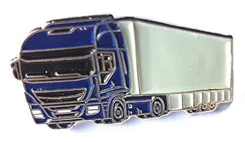 Metall Emaille Anstecknadel Blau Lkw mit Anhänger