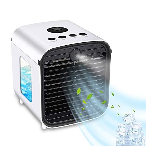 Bilisder Mobile Klimageräte, Tragbare USB Mini Air Cooler mit 7 Farben Nachtlicht, 4 in 1 Klimaanlage | Luftbefeuchter | Luftreiniger | Lüfter für Zuhause und Büro, 3 Geschwindigkeiten