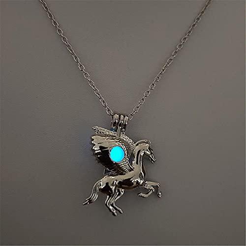 Anoauit Popular Colorido Luminoso Piedra Pony Collar Accesorios de Halloween Collar de Moda Resplandor en la Oscuridad Pegasus Collar Colgante Mujer joyería-Cielo Azul