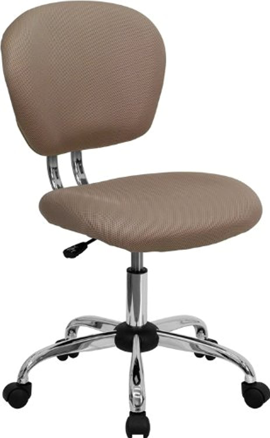 Flash Furniture H-2376-F-COF-GG Mid-Back Coffee Brown Mesh Task Chair with Chrome Base